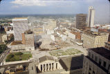Aerial view of the demolition of the Andrew Jackson Hotel, circa 1971