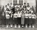 Bailey School librarian and student workers, 1954 November 08