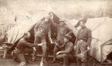 Soldiers of 1st Tennessee Volunteers in front of tent at Camp Merritt, San Francisco, California,...