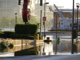 Flooding near the Hard Rock Cafe at the intersection of First Avenue and Broadway in downtown...