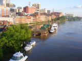 View of the Cumberland River and the flooded First Avenue North in downtown Nashville during the...