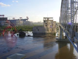 View of the flooded east bank of the Cumberland River from the Shelby Street Bridge during the May...
