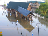Flooded Riverfront Train Station during the May 2010 flood