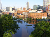 A photograph of flooding along First Avenue South in downtown Nashville during the May 2010 flood