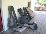 Guitar cases dry outside Carol Warren's flooded Franklin home after the May 2010 flood