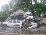 Car pileup at the intersection of Blue Hole Road and Antioch Pike during the May 2010 flood