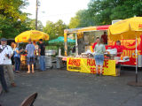 A Logan's Roadhouse restaurant tent serves food in the River Plantation neighborhood in the...