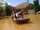 A water rescue in Pennington Bend during the May 2010 flood