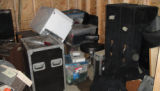 Damaged equipment in a Soundcheck storage locker after the May 2010 flood
