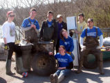 A group photograph of Presbyterian Disaster Assistance volunteers during a cleanup with the...