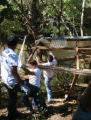 Volunteers dismantle a transplanted shed during a Harpeth River Watershed Association cleanup...