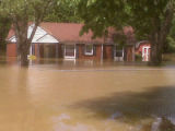 Lee and Amanda DeForest's inundated Madison home during the May 2010 flood
