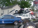 Cars piled in a heap at the Antioch Pike and Blue Hole Road intersection during the May 2010 flood