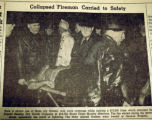 Collapsed fireman carried to safety, from the Nashville Times, 1940