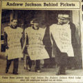 Andrew Jackson behind pickets, from the Nashville Times, 1940