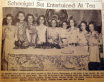 Schoolgirl set entertained at tea, from the Nashville Times, 1940