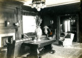 Interior of the study with large table, Bonnie Brae residence, Nashville, Tennessee, n.d.