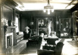Interior study with fireplace of the Bonnie Brae residence, Nashville, Tennessee, n.d.