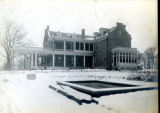 Rear elevation showing pond of the Bonnie Brae residence, Nashville, Tennessee, n.d.