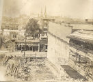 Construction site for the Shelby Street Bridge, 1908 July 08