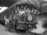 Photograph of Al Menah Temple Shriners leaving Union Station Nashville, Tennessee, for...