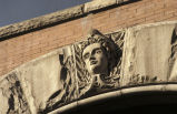 Photograph of a stone carving of the face of a woman, 5th Avenue North, Nashville, Tennessee,...