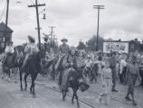 Robbins Brothers Circus performers on horseback, Nashville, Tennessee, 1938 August