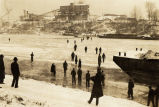 Postcard of the frozen Cumberland River, 1940 January 26