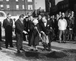 Photograph of Charles Trabue, Beverly Briley, and Ben West at the groundbreaking for a new main...