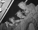 Photograph of Tom Tichenor and marionette performers in a puppet show at the Nashville Public...
