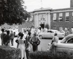 Photograph of crowd, Fehr Elementary School, corner of Fifth Avenue and Garfield Street,...
