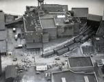 Aerial view of the strike at Neuhoff Packing Plant, 1937 June 29