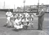 Mayor West with proclamation for Nashville Vols at Sulphur Dell, 1957 April 11