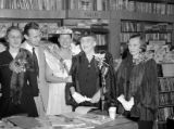 Minnie Pearl with Jim Perkins and others at Zibart's Book Store, 1954 January