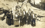 Mr. and Mrs. Stanley R. Teachout with a group on a trip to the Petrified Forest, circa 1916