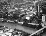 Aerial of Riverfront Park development area before it was completed as an urban park, Nashville,...