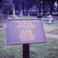 Revolutionary War Veterans buried in the Nashville City Cemetery historic marker, Nashville,...