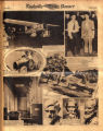 Photomontage of an airplane, pilots, the children of Benito Mussolini, a painting of Joelton,...