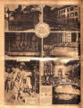 Photomontage of various cast iron gates in Nashville, Grace Coolidge planting a tree, a boat...