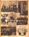 Photomontage of the Vanderbilt family at a horse show, Texas boyscouts, a gravestone ad, and...