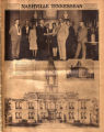 Photomontage of officials at the governor's mansion with a drawing of the proposed Robertson...