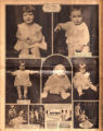 Photomontage of babies, a child with a dog and puppies, two children holding a large catfish, and...