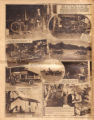 Photomontage showing vehicles built by J. L. Morrow, his workshop and home, and a movie and face...