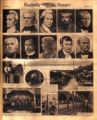 Photomontage of portraits of famous Tennesseans, a man with a telescope, a United States Daughters...