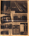 Photomontage of a proposed Chicago building, an airplane over Long Island Sound, a family photo...