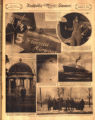 Photomontage of a pilots with an airplane, politicians visiting the Hermitage, the sun, a boat,...