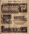 Photomontage of the a baseball team, a Rifle Club, a group of women and children, an orphanage,...