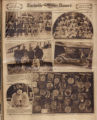 Photomontage of Civil War veterans, kindergarteners, aviators and an airplane, an antique car, an...