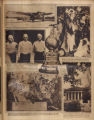 Photomontage of an airplane, President Coolidge, a set of triplets, a trophy, a map, and the...