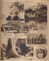 Photomontage of a volcano, two national parks, a child band, a museum exhibit, and a Naval officer. Nashville Banner,...